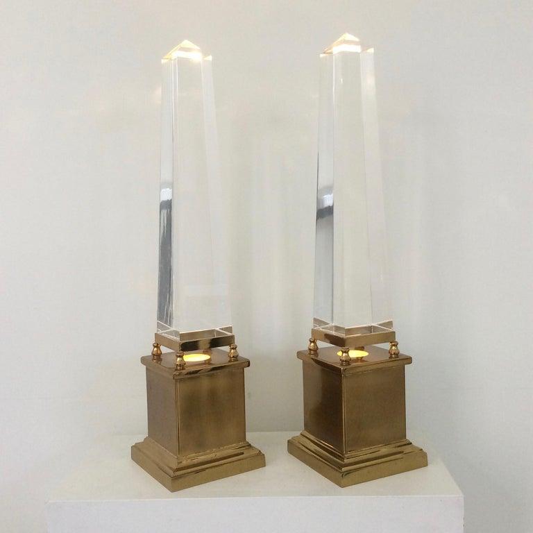 Late 20th Century Maison Jansen Pair of Obelisk Table Lamps, circa 1970, France