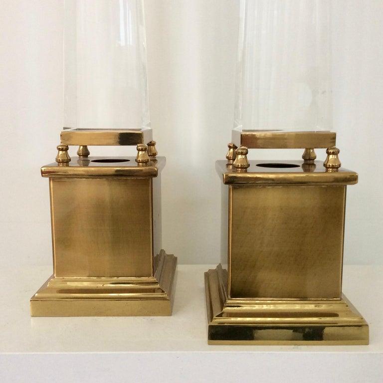 Brass Maison Jansen Pair of Obelisk Table Lamps, circa 1970, France
