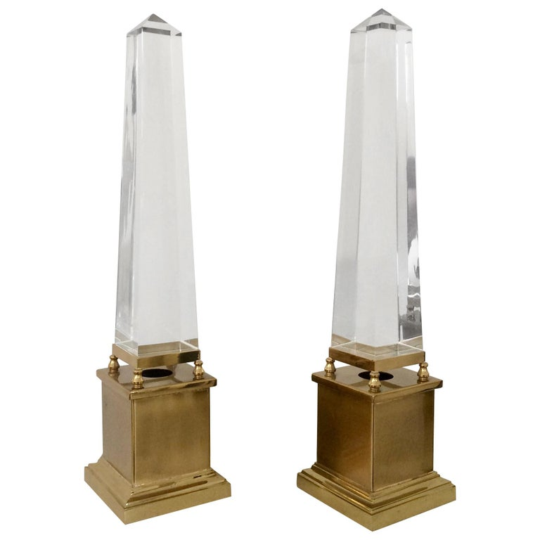 Maison Jansen Pair of Obelisk Table Lamps, circa 1970, France