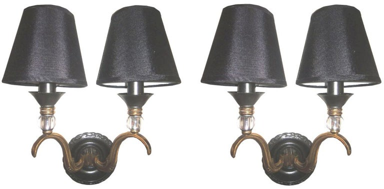 20th Century Maison Jansen French Neoclassical Brass Sconces, Wall Lights For Sale
