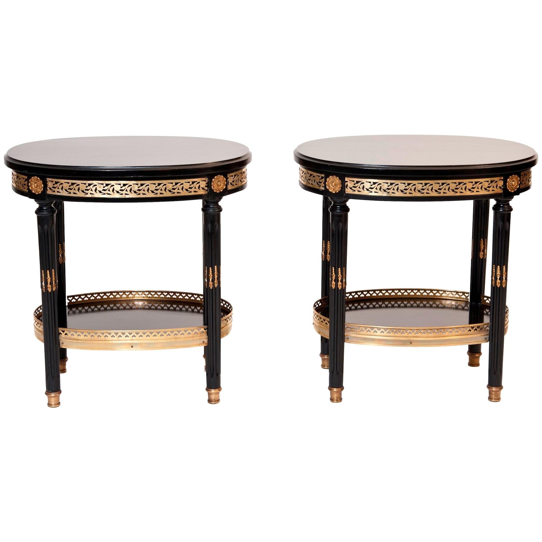 Maison Jansen Pair of Stamped Side Tables, French