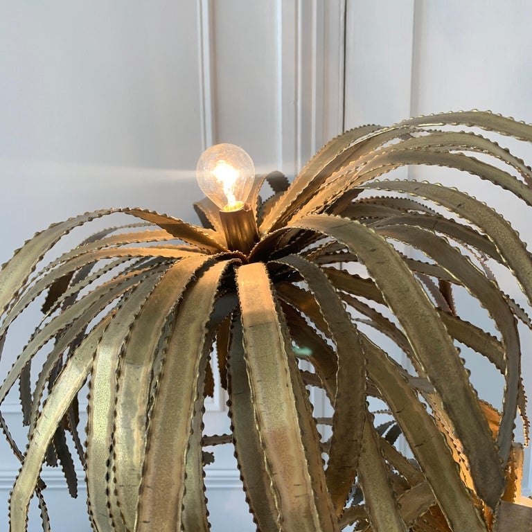 French Maison Jansen Palm Tree Lamp, 1970s For Sale
