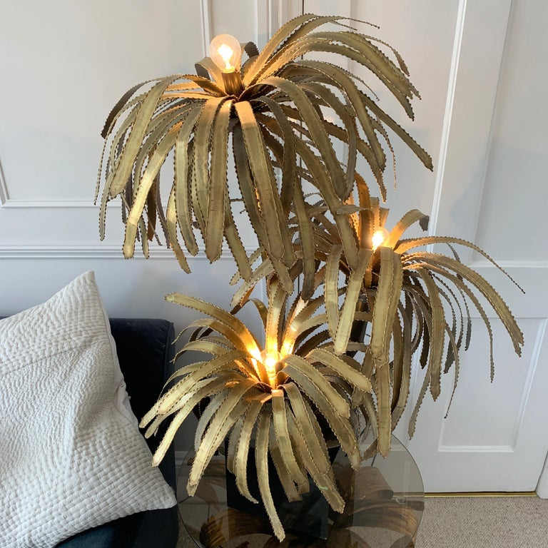 Hand-Crafted Maison Jansen Palm Tree Lamp, 1970s For Sale