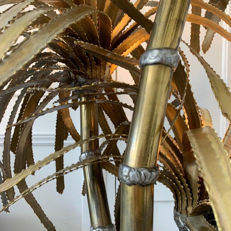 Brass Maison Jansen Palm Tree Lamp, 1970s For Sale