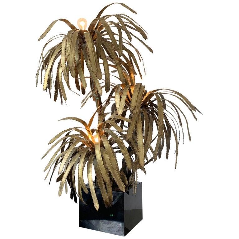 Maison Jansen Palm Tree Lamp, 1970s For Sale