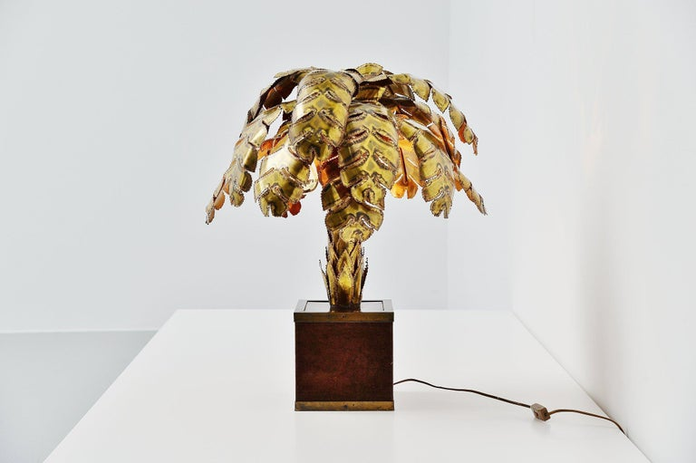 Maison Jansen Palm Tree Table Lamp, France, 1970 In Good Condition For Sale In Roosendaal, Noord Brabant