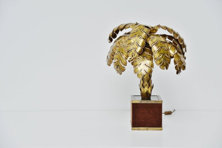 Brass Maison Jansen Palm Tree Table Lamp, France, 1970 For Sale