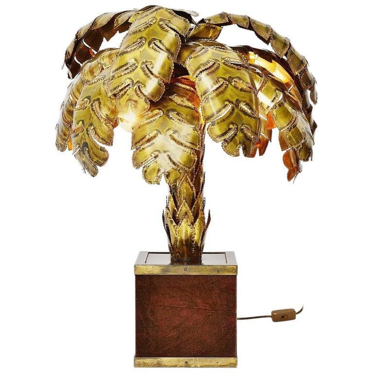 Maison Jansen Palm Tree Table Lamp, France, 1970 For Sale