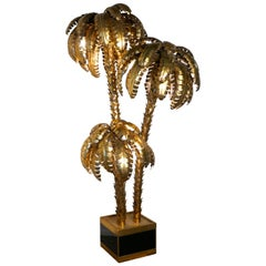 Palm Tree Tole Ware Floor Lamp French, 1970-1980