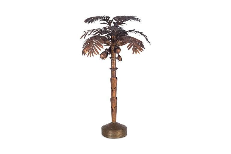 Hollywood Regency Maison Jansen Palmtree Floor Lamp in brass For Sale