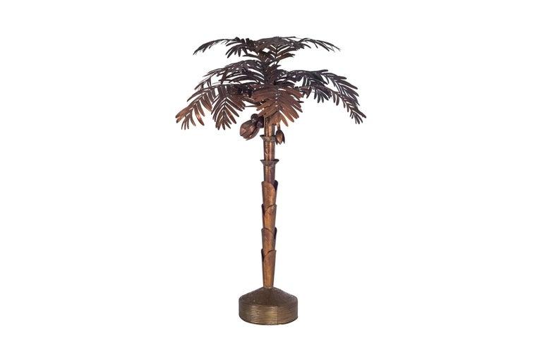 French Maison Jansen Palmtree Floor Lamp in brass For Sale