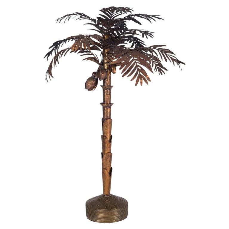 Maison Jansen Palmtree Floor Lamp in brass For Sale