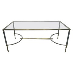 Maison Jansen Polished Steel and Brass Coffee Table
