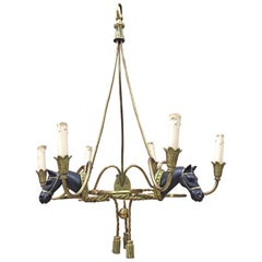 Maison Jansen, Rare Bronze Chandelier Has Two Patinas, Decorated with Horse Head