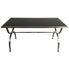 Maison Jansen, Rare Brushed Steel and Brass Neoclassical Style Coffee Table