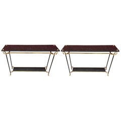 Maison Jansen, Rare Elegant Pair of Console Tables in Bronze, Brass and Marble