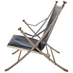 Maison Jansen Regency Bronze Campaign Leather Lounge Chair