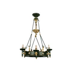 Maison Jansen Regency Style Six-Arm Painted Iron and Bronze Chandelier