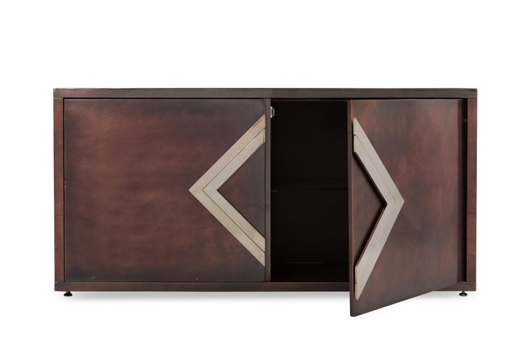 French Maison Jansen Rose Metal Credenza For Sale