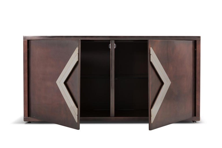 Patinated Maison Jansen Rose Metal Credenza For Sale