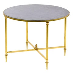 Maison Jansen, Round Table in Brass and Gray Marble, 1970s