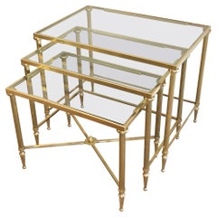 Maison Jansen, Set of 3 Brass and Glass Nesting Tables, French, Circa 1940