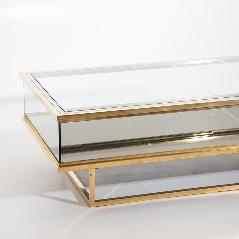 Mid-Century Modern Maison Jansen, Sliding Coffee Table, Brass and Glass, France, 1970s For Sale