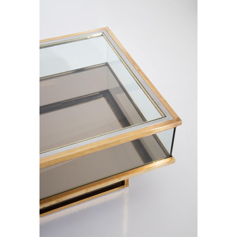 French Maison Jansen, Sliding Coffee Table, Brass and Glass, France, 1970s For Sale
