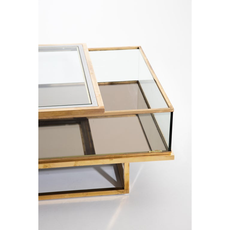 Late 20th Century Maison Jansen, Sliding Coffee Table, Brass and Glass, France, 1970s For Sale