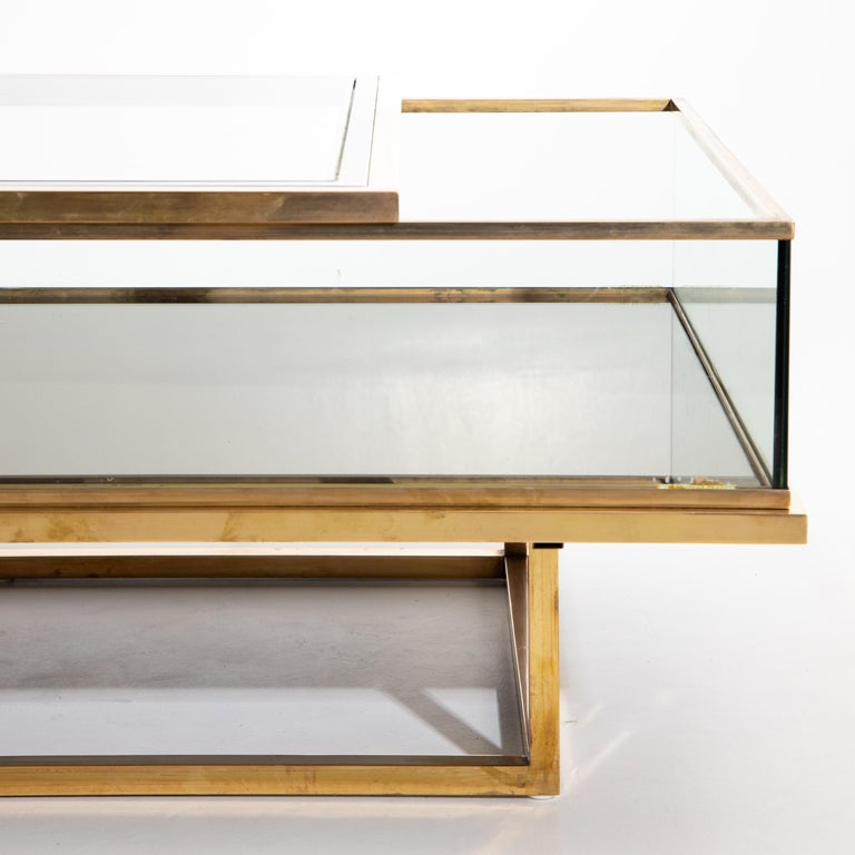 Maison Jansen, Sliding Coffee Table, Brass and Glass, France, 1970s For Sale 1
