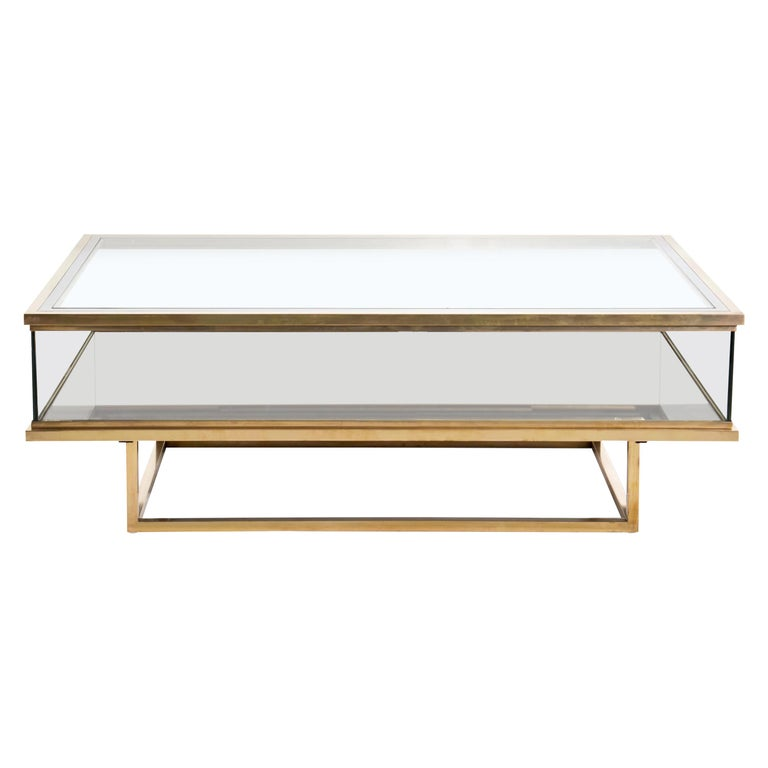 Maison Jansen, Sliding Coffee Table, Brass and Glass, France, 1970s For Sale