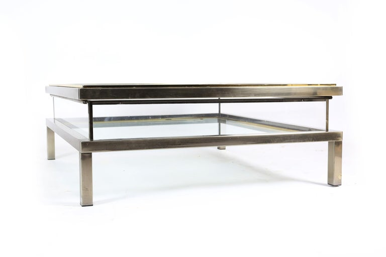 Sliding Top Coffee Table Hollywood Regency Style, 1970s For Sale 5