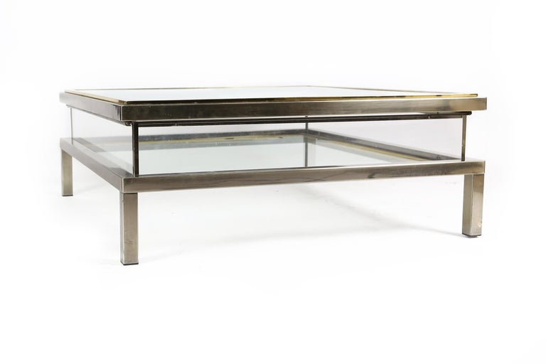 Sliding Top Coffee Table Hollywood Regency Style, 1970s In Good Condition For Sale In Ghent, BE