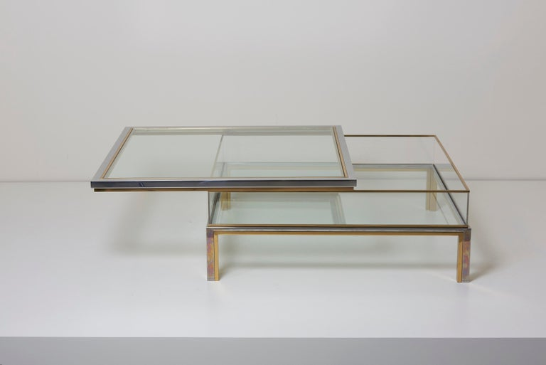 Maison Jansen Sliding Top Coffee Table in Brass and Chrome For Sale 4