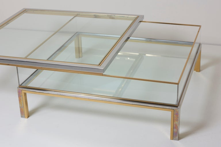 Maison Jansen Sliding Top Coffee Table in Brass and Chrome For Sale 5