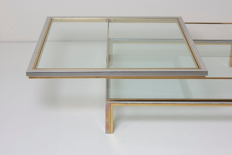 Maison Jansen Sliding Top Coffee Table in Brass and Chrome For Sale 6