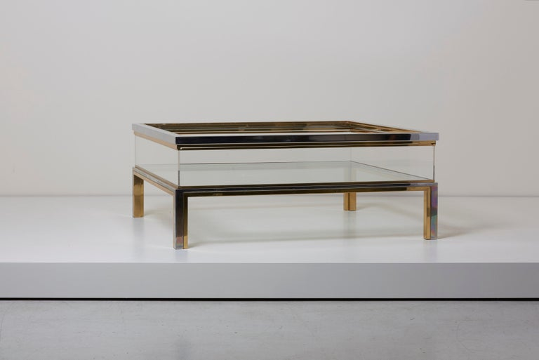 Hollywood Regency Maison Jansen Sliding Top Coffee Table in Brass and Chrome For Sale