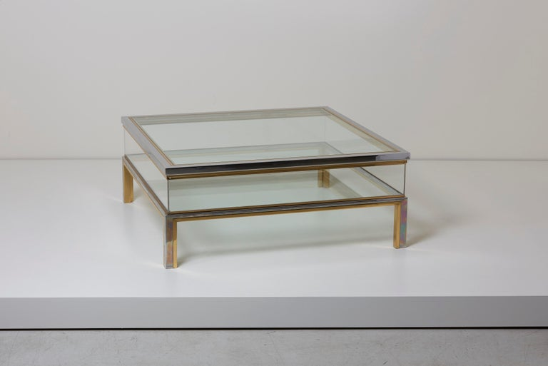 Maison Jansen Sliding Top Coffee Table in Brass and Chrome In Excellent Condition For Sale In Berlin, DE
