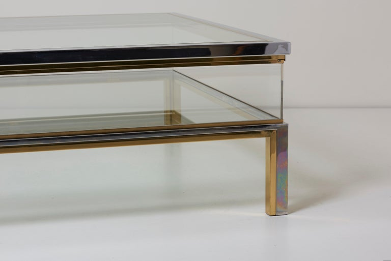Maison Jansen Sliding Top Coffee Table in Brass and Chrome For Sale 1