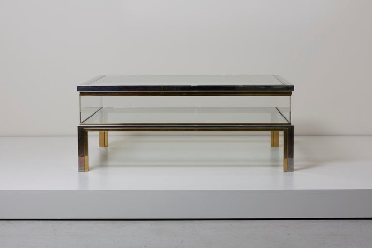 Maison Jansen Sliding Top Coffee Table in Brass and Chrome For Sale 2