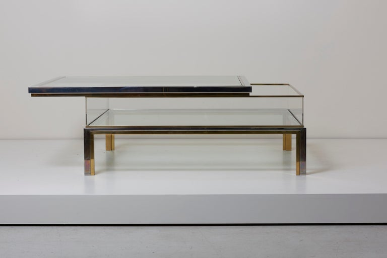 Maison Jansen Sliding Top Coffee Table in Brass and Chrome For Sale 3