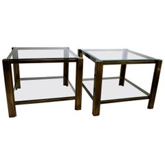 Maison Jansen Solid Brass Hollywood Regency Side Tables