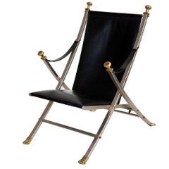 Maison Jansen Staineless Steel Brass and Leather Lounge Chair