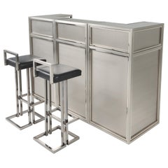Maison Jansen Stainless Steel and Chrome Bar with Stools