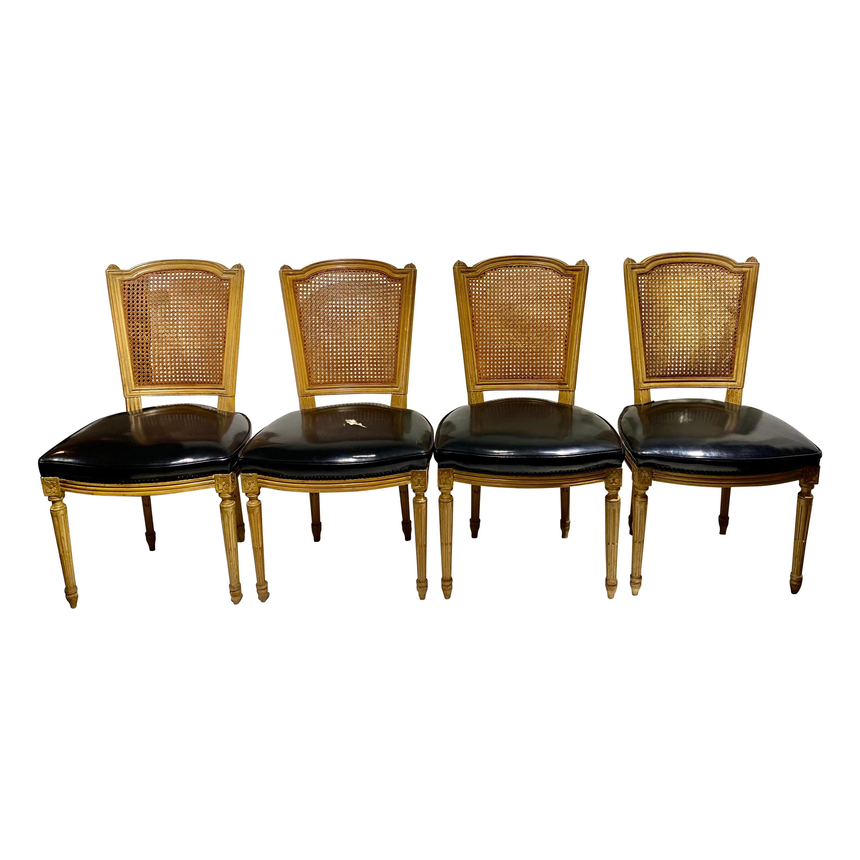 Maison Jansen Stamped Caned-Back Chairs, Set of Four, French