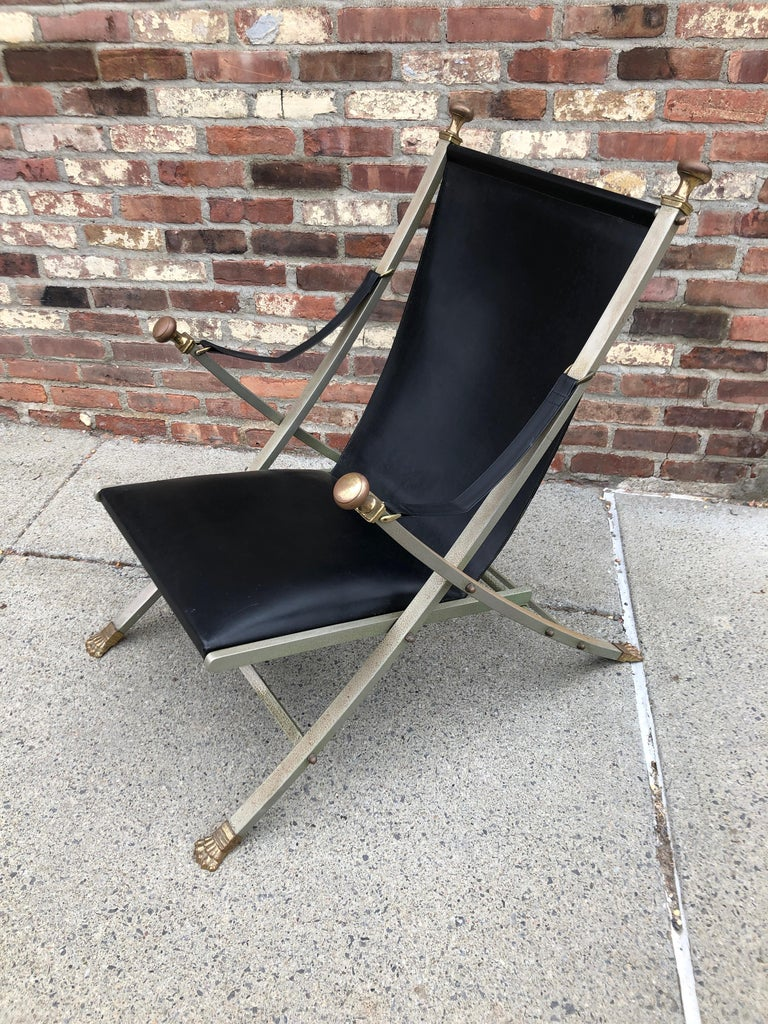 Maison Jansen Steel, Bronze and Leather Campaign Chair For Sale 1