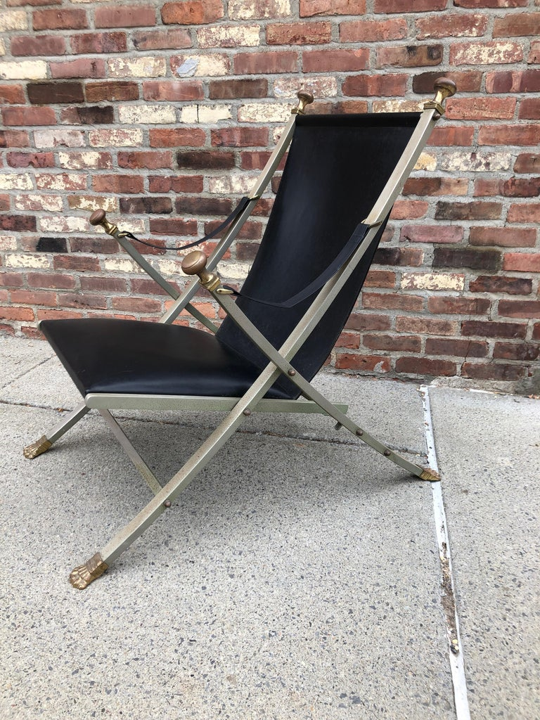 Maison Jansen Steel, Bronze and Leather Campaign Chair For Sale 2