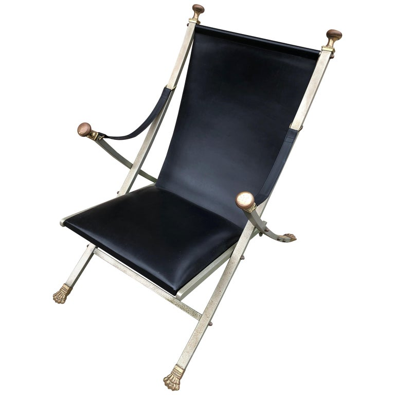 Maison Jansen Steel, Bronze and Leather Campaign Chair For Sale