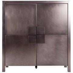 Steel Brushed Four-Door Cabinet