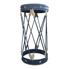 Maison Jansen Style 20th Century Italian Arrow Metal Side Table, Mirrored Top